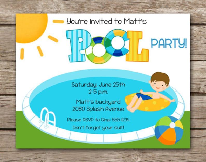 Pool Party Invitation Pool Party Invite Swim Party Etsy