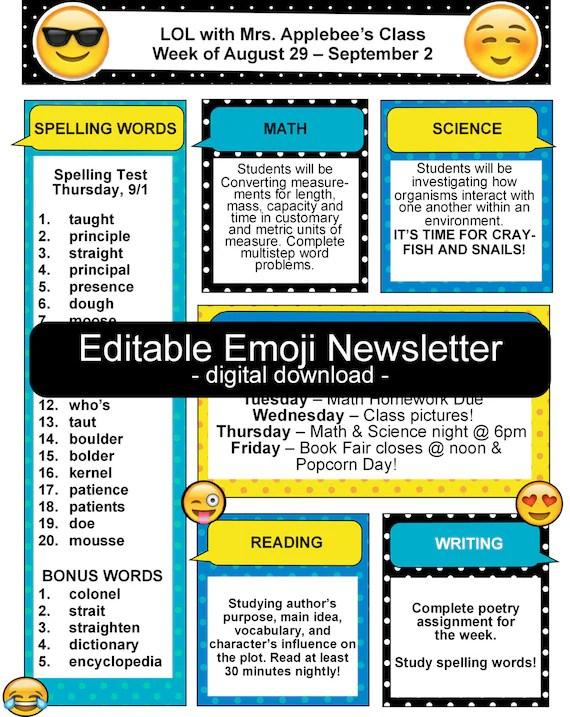 Emoji Teacher Classroom Newsletter EDITABLE Etsy - editable classroom newsletter