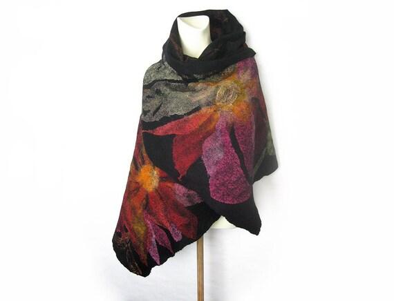 Felted Wool Silk Scarf Evening Black Floral Shawl Wollen