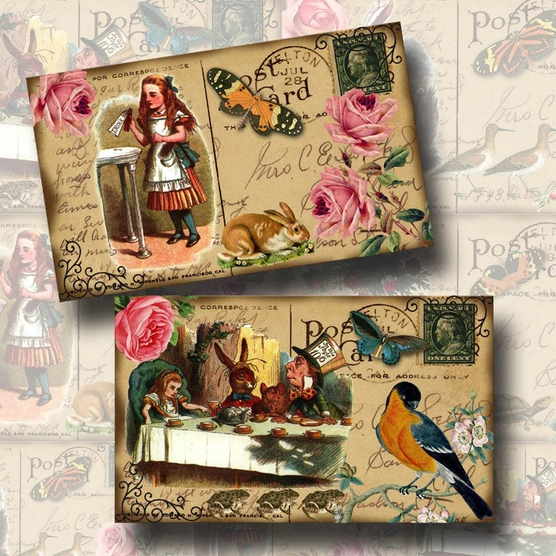 Alice In Wonderland -3x5 PostCards- Fun, Clever, Whimsical -INSTaNT