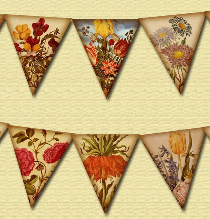 Vintage Shabby Chic Floral Banner -10 Small Pennants/Flags -INSTaNT