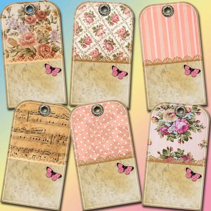Hang/Gift TaGS- Shabby Chic Boutique Vintage Art Gift/Journal Tags