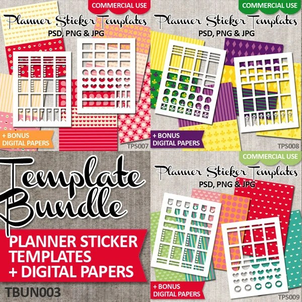 DIY Planner Sticker Template Bundle Sale / Commercial use / Etsy