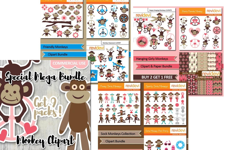 Cute sock monkeys clip art bundle sale Commercial use Etsy