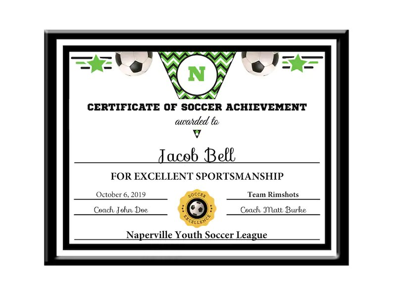 Editable PDF Soccer Certificate Sports Team Award Template in Etsy