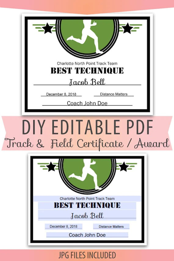 Editable PDF Sports Team Track and Field Certificate diy Award Etsy