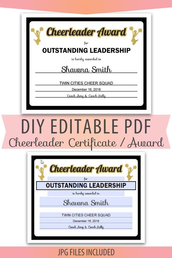 Sports Certificate In Pdf | Editable Pdf Sports Team Soccer Certificate Diy Award Template In