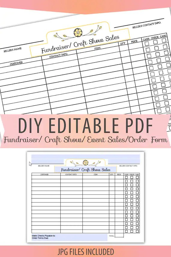DIY Editable Printable PDF jpg Order Form Fundraiser Craft Etsy