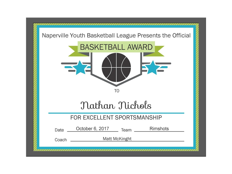 Editable PDF Sports Team Basketball Certificate Award Template Etsy