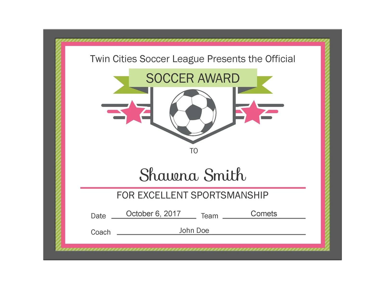 Editable PDF Sports Team Soccer Certificate Award Template in Etsy