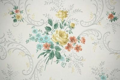 1950s Vintage Wallpaper by the Yard Floral Vintage Wallpaper   Etsy