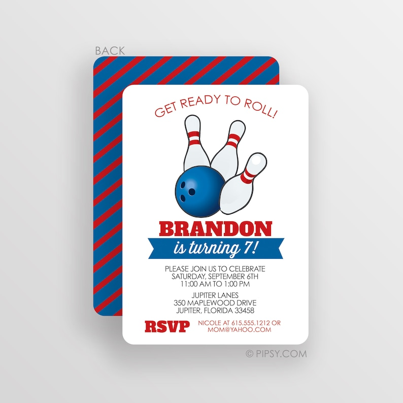 Bowling Invitation Birthday Party Invitation Boy Bowling Etsy