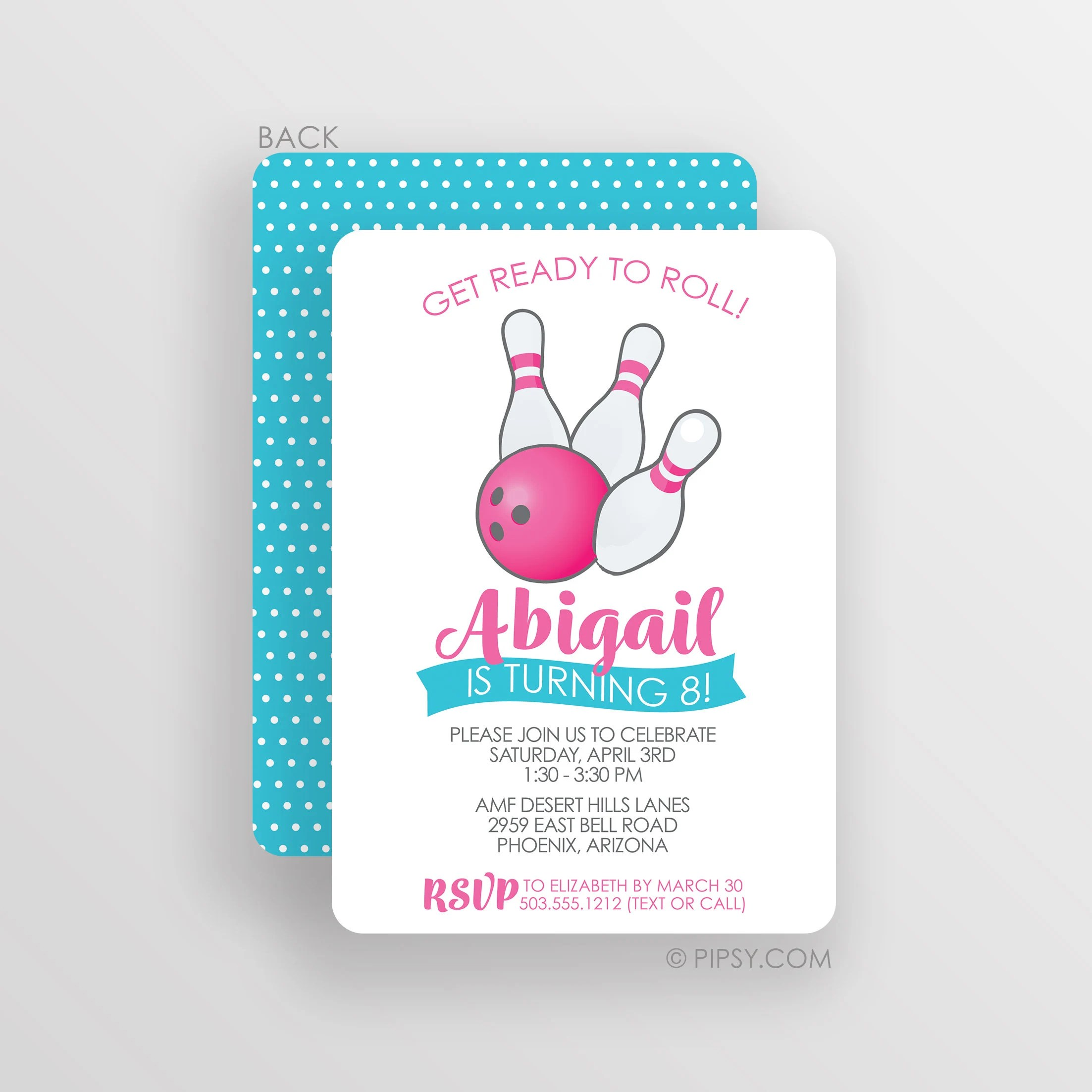 Bowling Invitation Birthday Party Invitations Girl Bowling Etsy