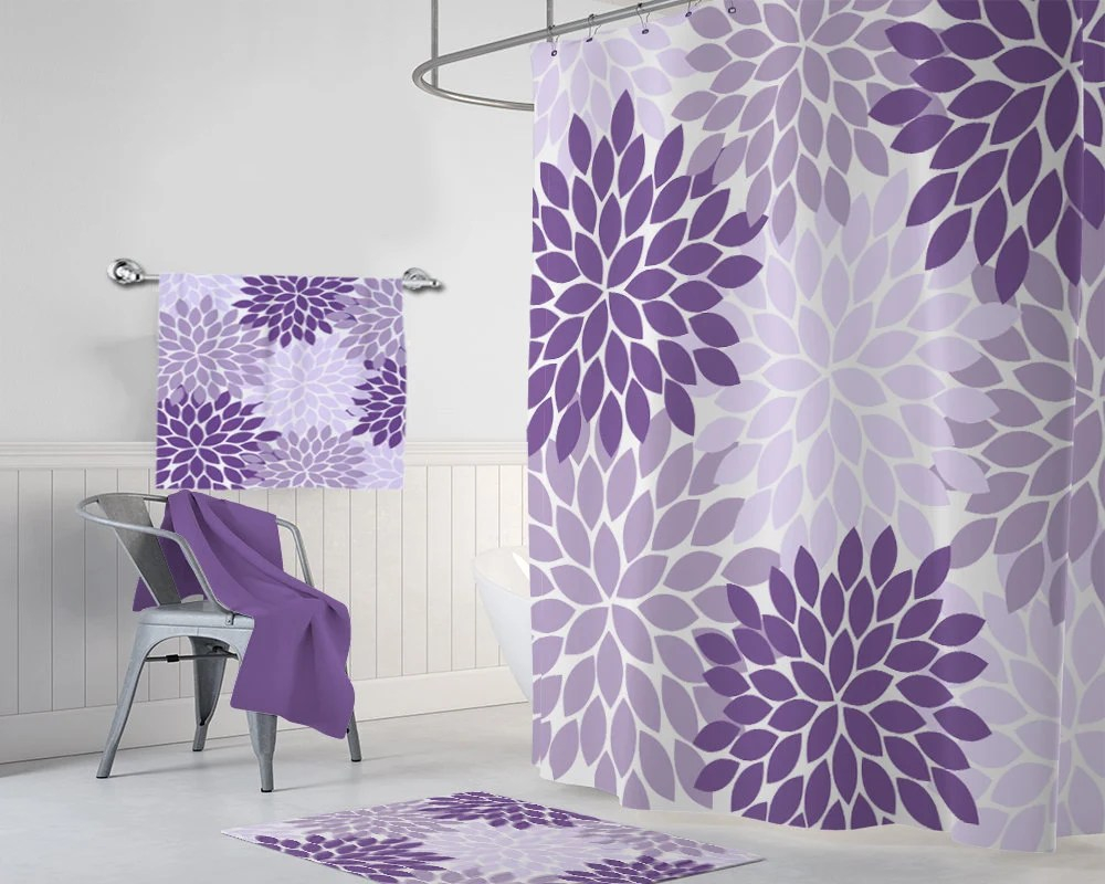 Lavender Shower Curtains Purple Flower Shower Curtain Purple Lavender Flower Bathroom Decor Girl Monogram Personalized Purple Flower Bath Towel Bath Mat Rug