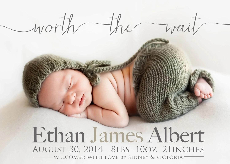 Worth the wait Adoption Announcement PHOTO Birth Etsy