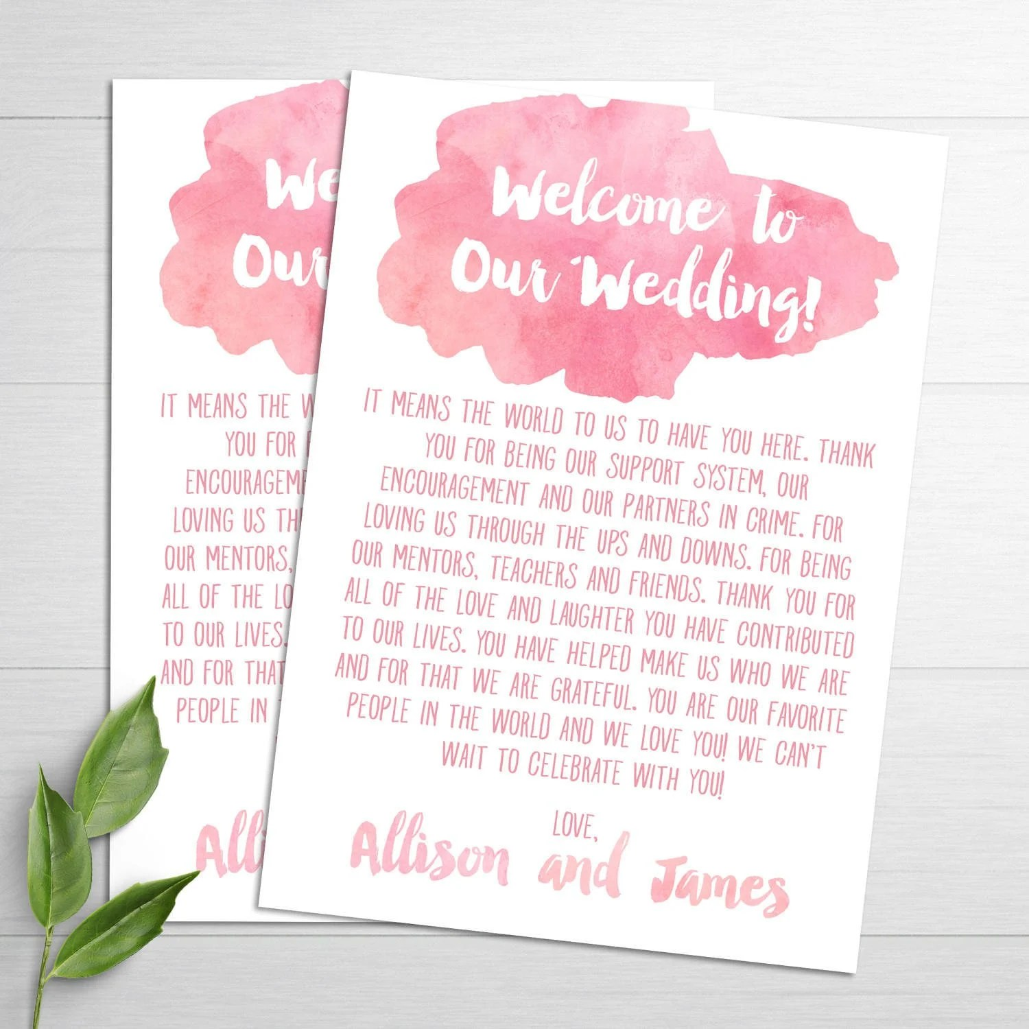 Wedding Welcome Card Wedding Welcome Letter Thank You Note Etsy