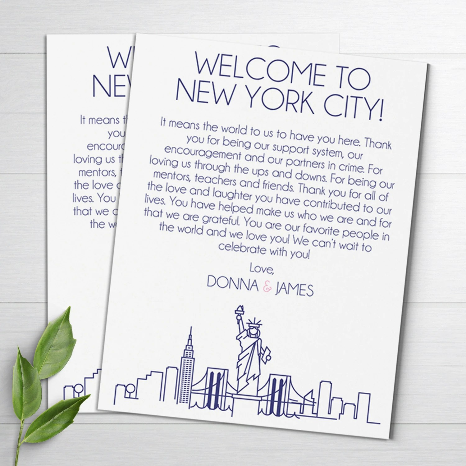 Wedding Welcome Letters NYC Skyline Wedding Itineraries Etsy