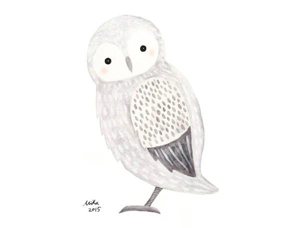 Owl Wall Art Snowy Owl Illustration Print Winter Woodland Etsy