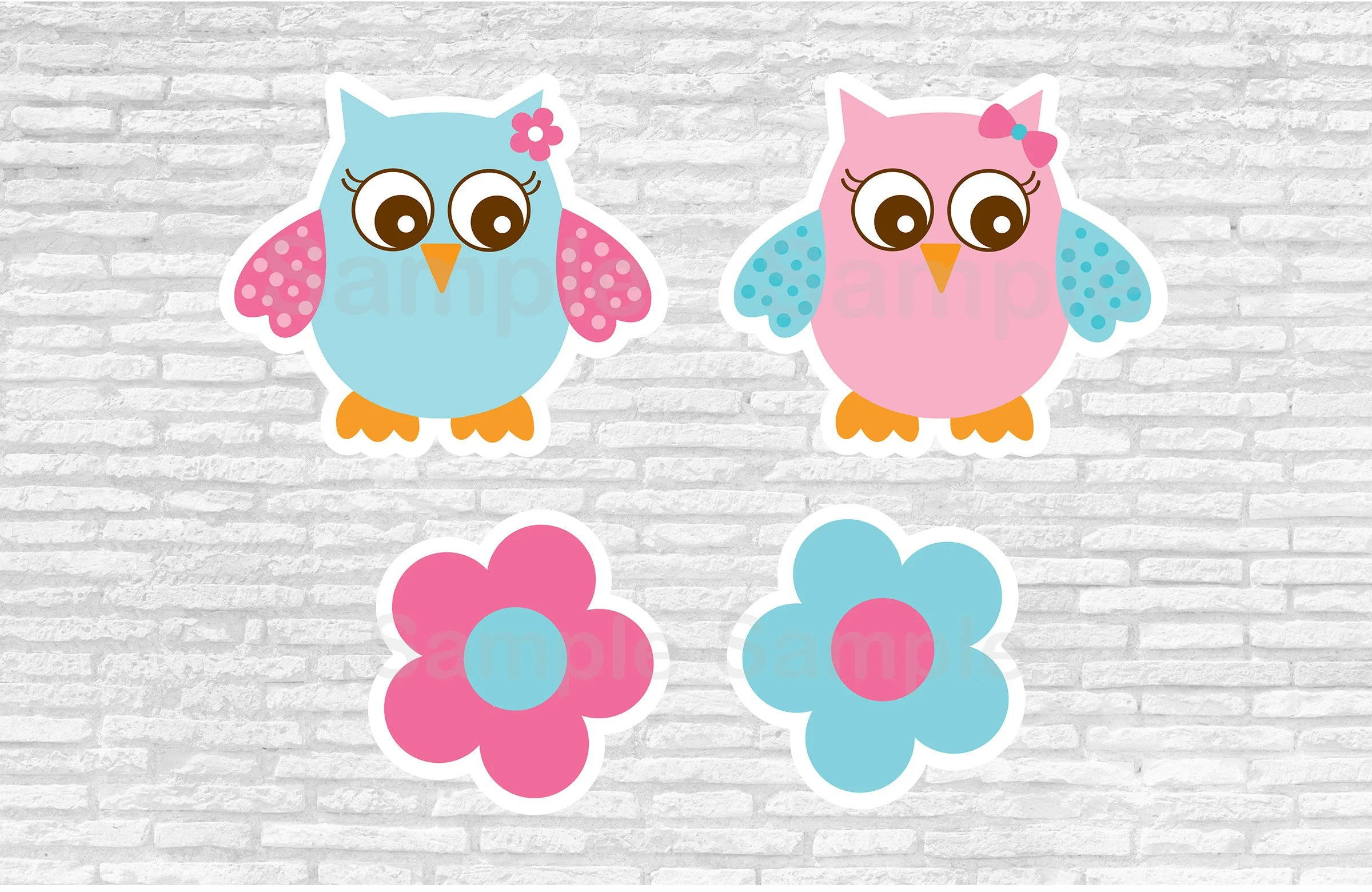 Pink Owl Baby Shower Cut Outs / Owl Baby Shower / Owl Baby Shower