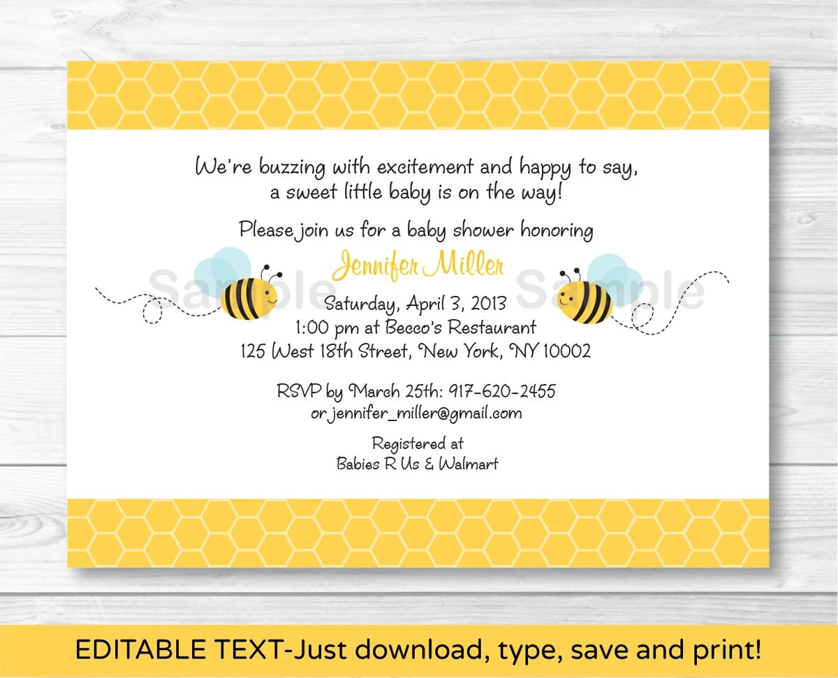 Bumble Bee Baby Shower Invitation Bee Baby Shower Invite