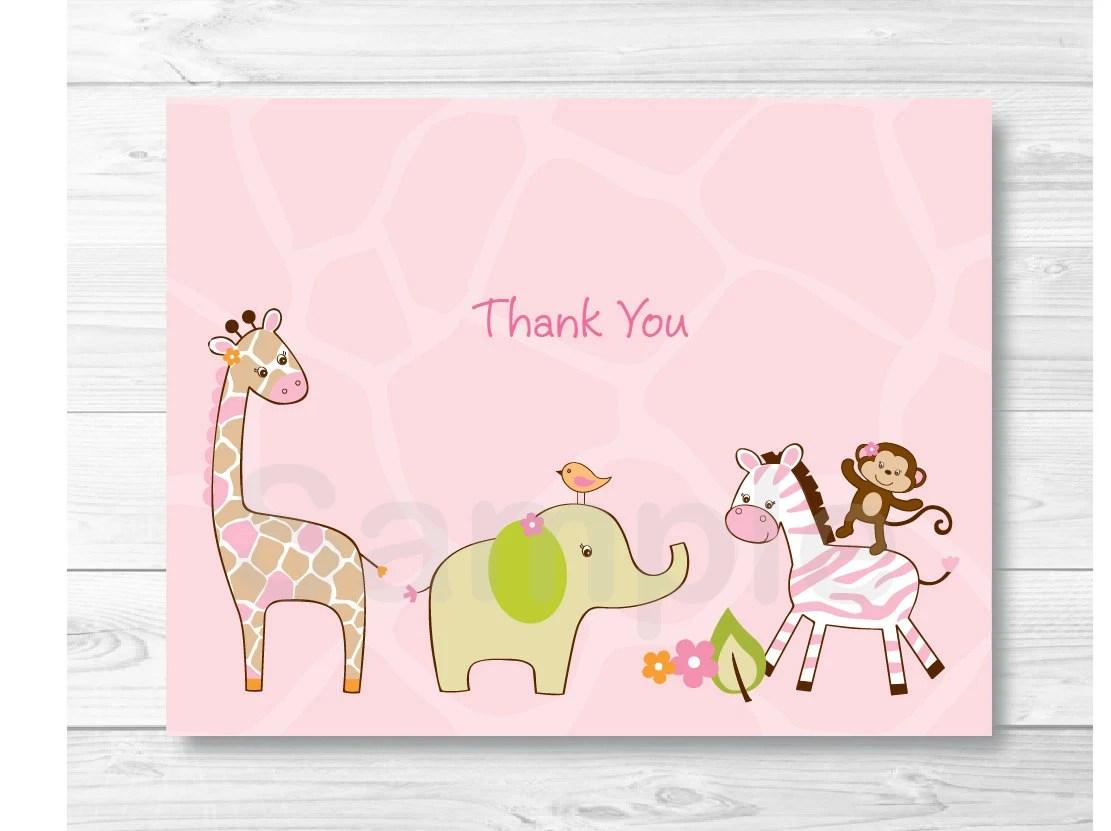 Cute Pink Jungle Animal Thank You Card / Jungle Baby Shower / Safari