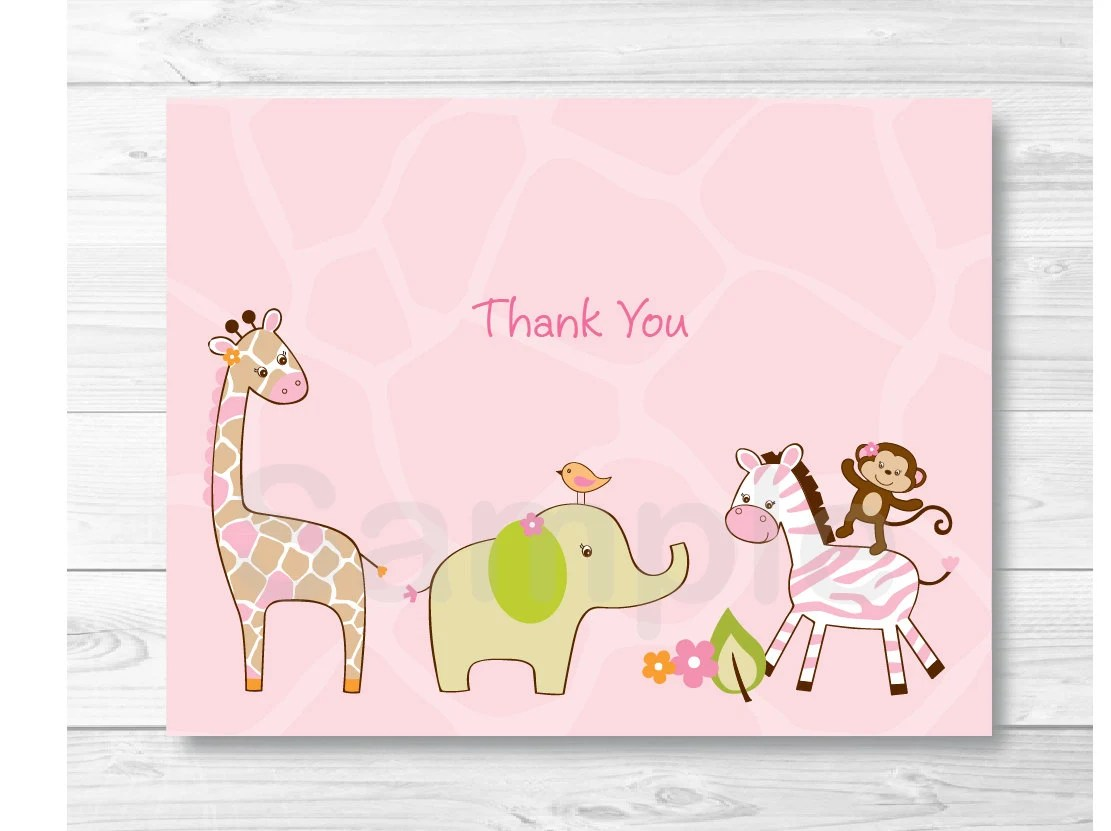 Cute Pink Jungle Animal Thank You Card / Jungle Baby Shower / Etsy