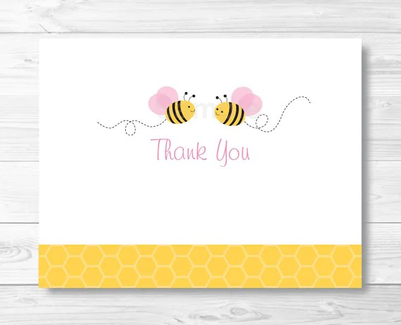 Cute Pink Bumble Bee Thank You Card / Bumble Bee Baby Shower / Etsy