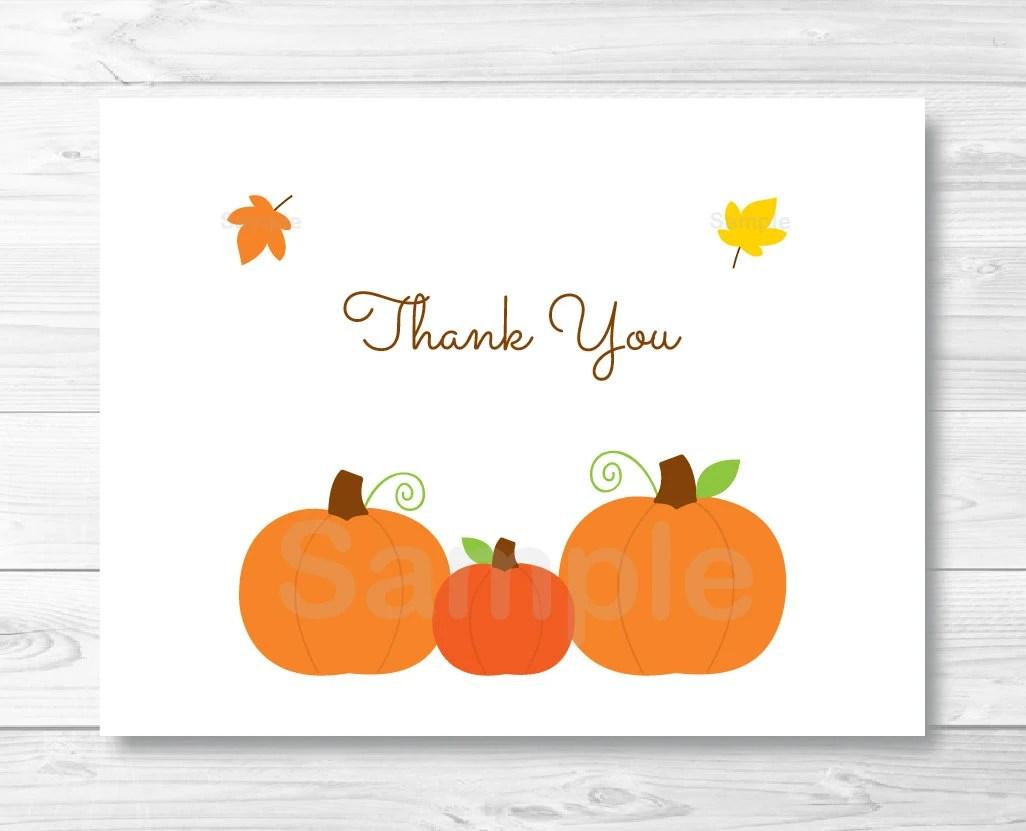 Cute Pumpkin Thank You Card Template / Pumpkin Baby Shower / Etsy