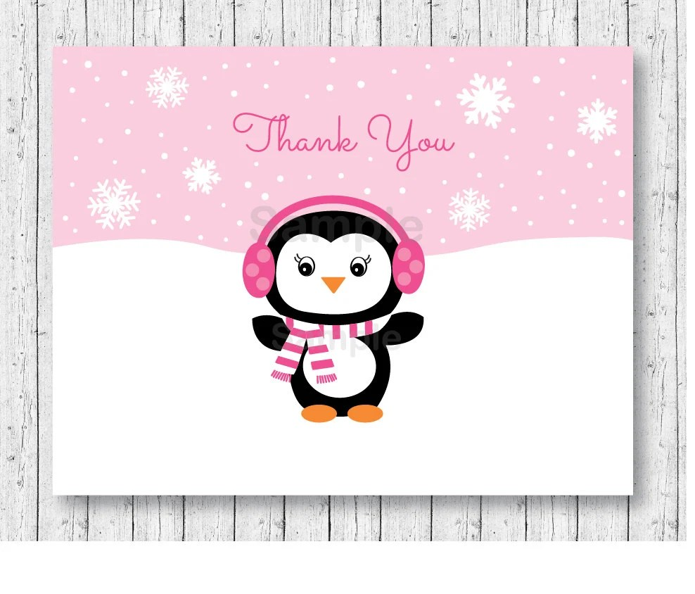 Cute Pink Penguin Thank You Card / Folded Card Template / Etsy