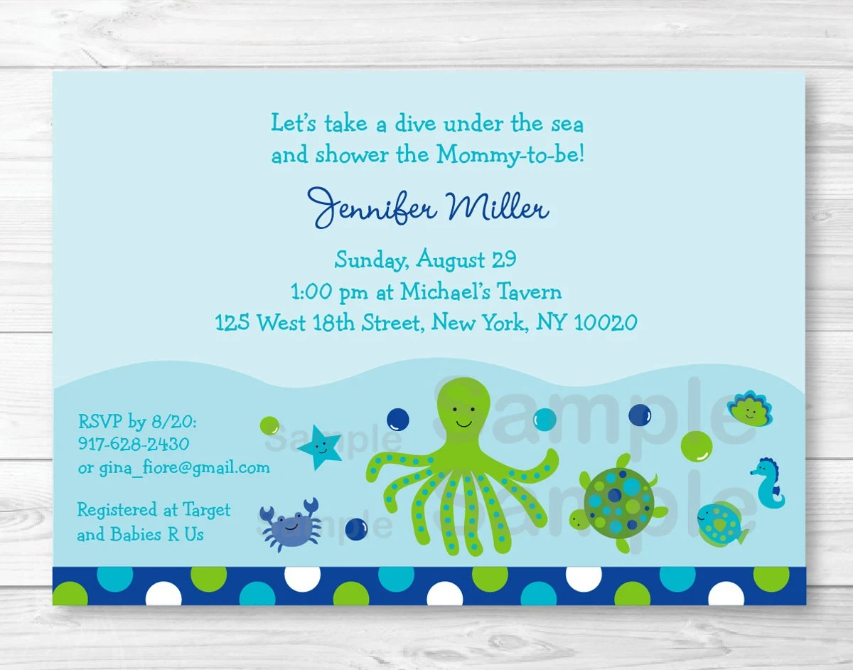 Under The Sea Baby Shower Invitation Under The Sea Baby