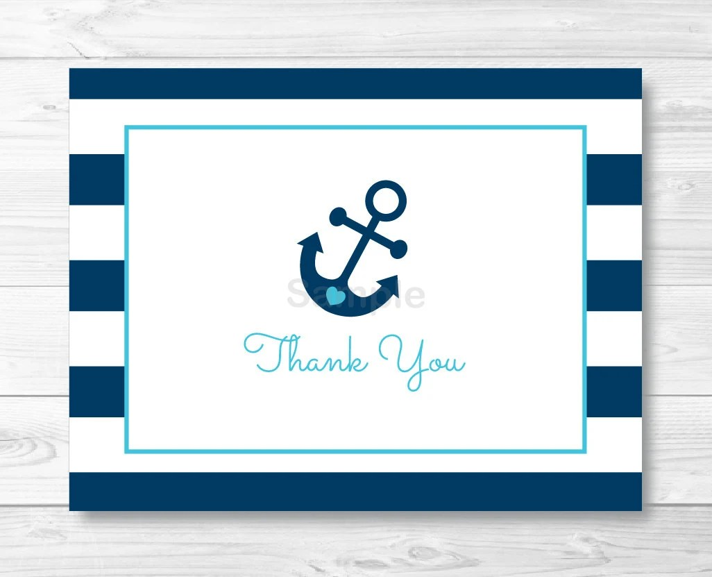 Nautical Anchor Folded Thank You Card Template / Nautical Baby