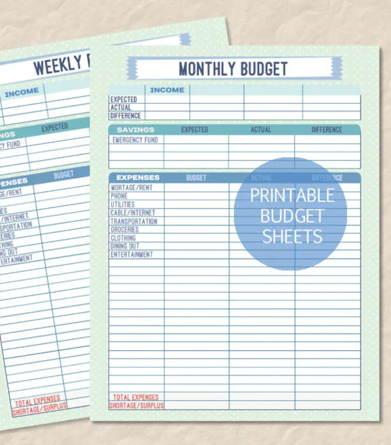 Printable Monthly Budget Printable Weekly Budget Finance Etsy