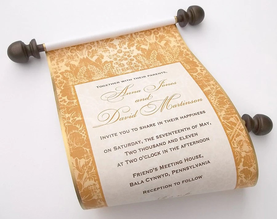 Gold wedding invitations elegant scroll invitations handmade Etsy