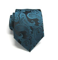 Teal Black Paisley Mens Ties. Wedding Ties Mens Neckties With