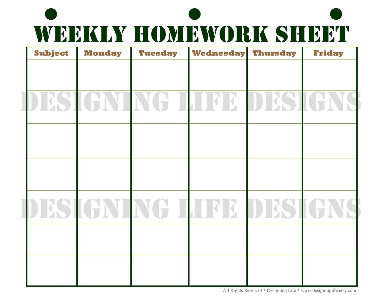 Student Homework Schedule Printable - Car Design Today \u2022