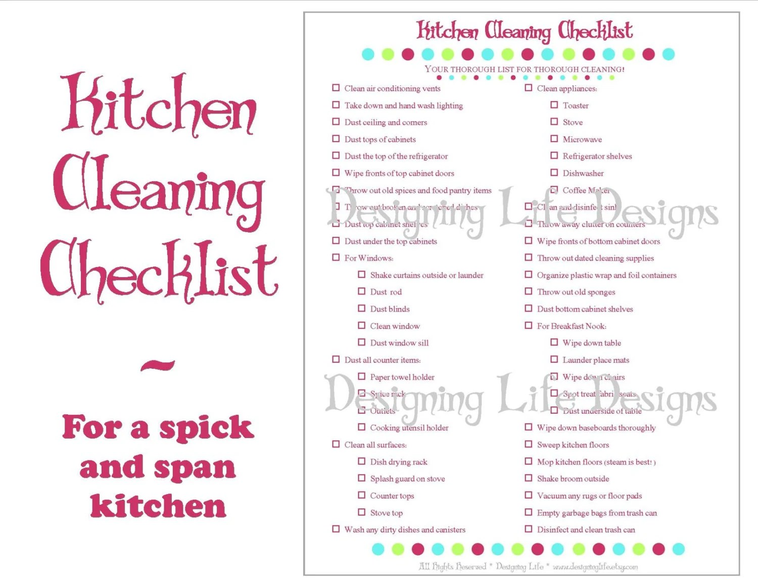 Kitchen Cleaning Checklist PDF Printable Home Management Etsy