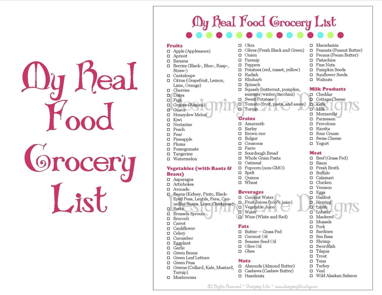 Real Food Grocery Shopping List Printable for Meal Planning Etsy
