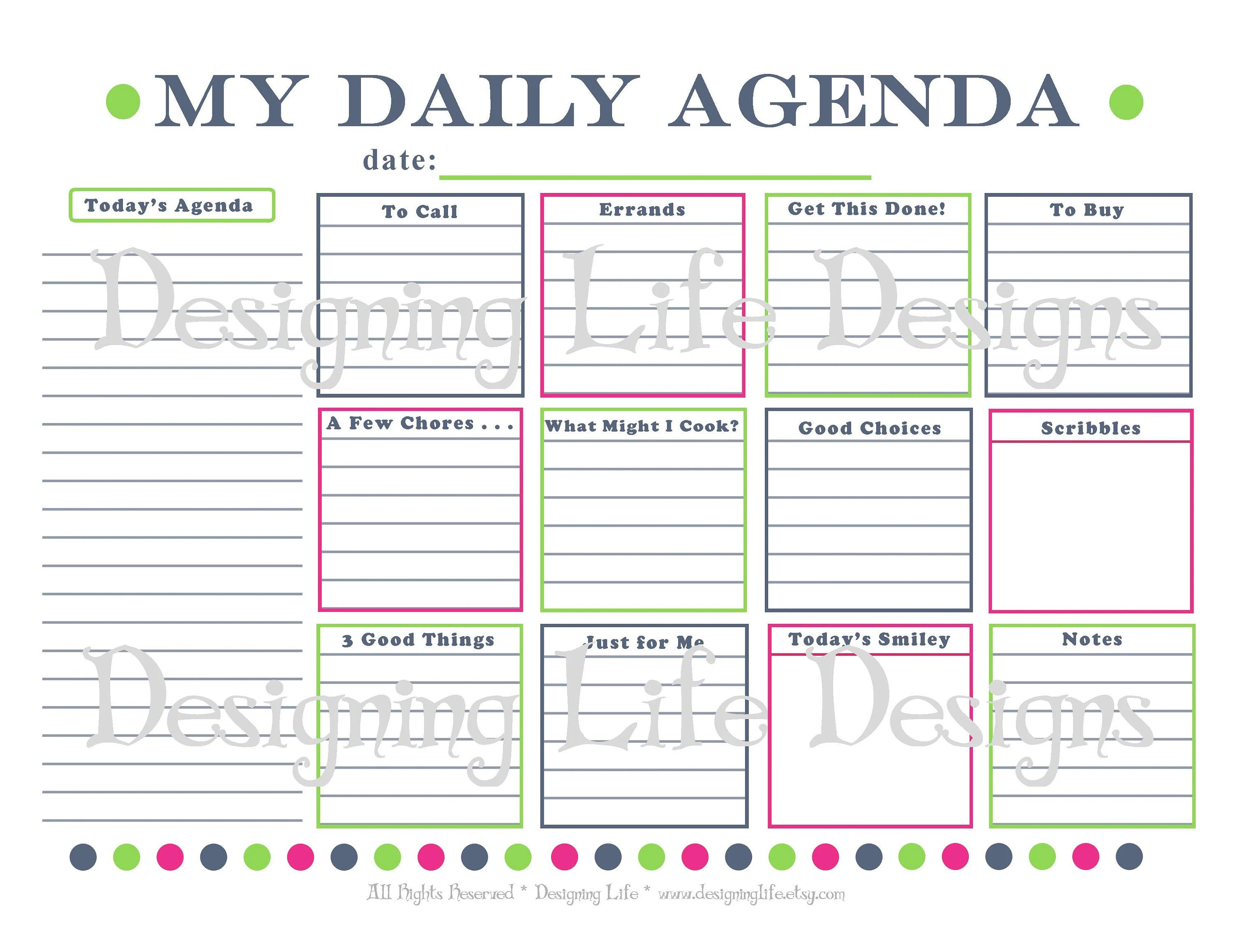 Daily Agenda Printable Daily Planner Page PDF To Do List Etsy