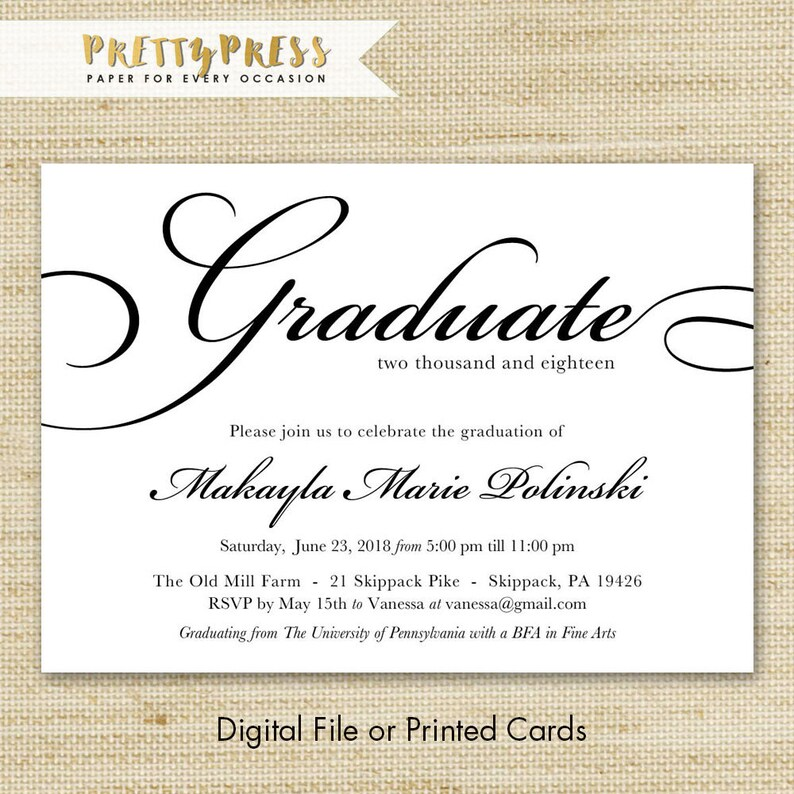 College Graduation Invitation College Graduation Invite Etsy