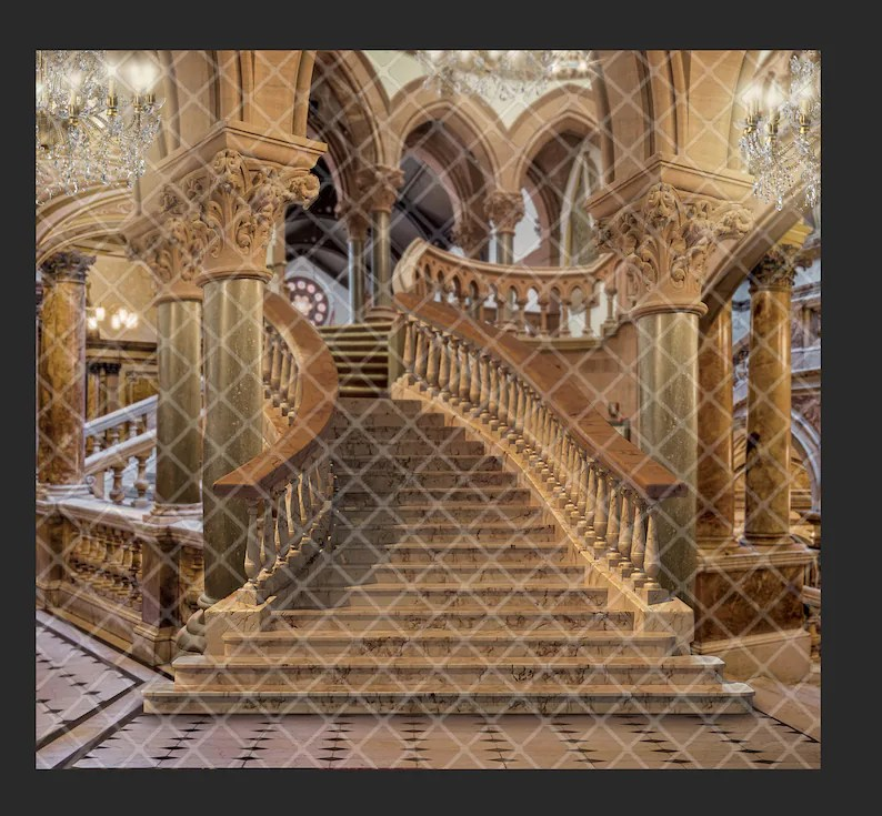 Classical staircase castle staircase digital background Etsy