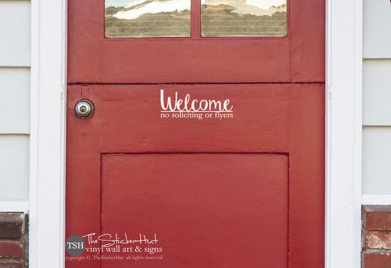 Welcome No Soliciting or Flyers Decal Front Door Decal Vinyl Etsy