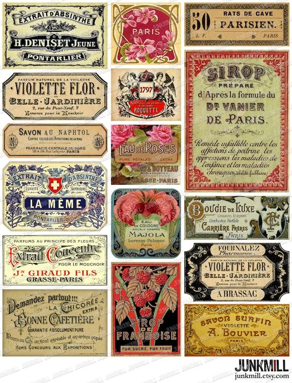 PARISIAN LABELS Digital Printable Collage Sheet Vintage Etsy