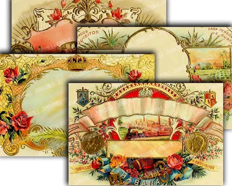 CIGAR BOX BORDERS 4 Large Digital Printable Images Vintage Etsy