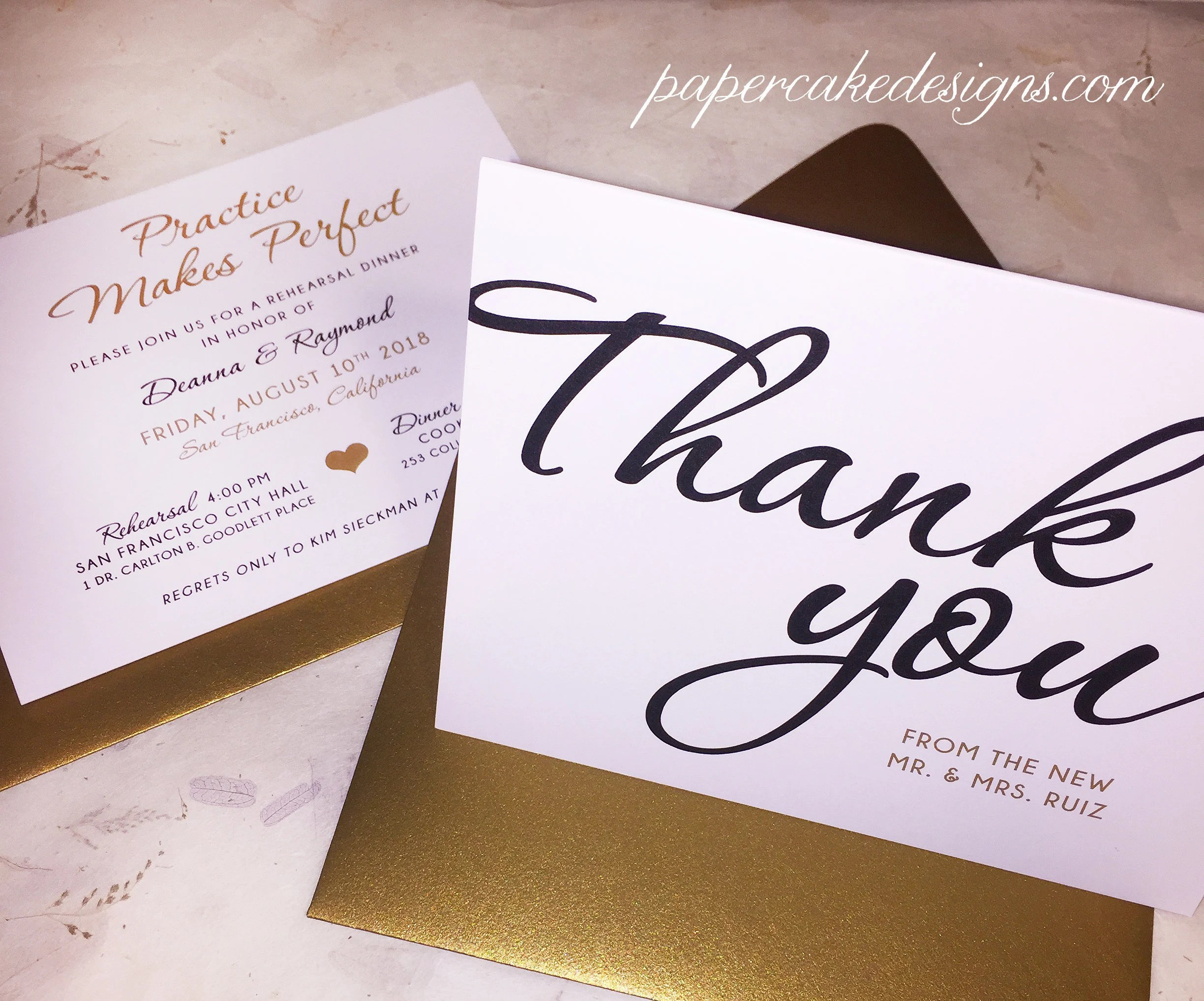 Wedding Thank You Card / Flat or Folded Notecard with Envelope Etsy