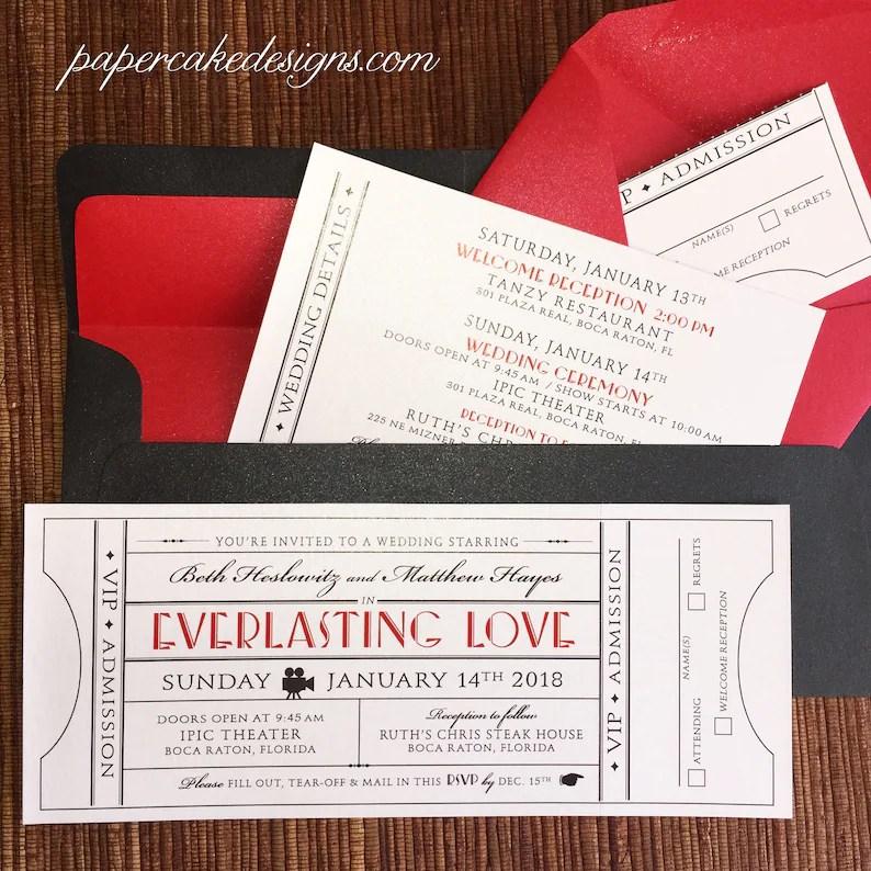 Vintage Ticket Wedding Invitation with RSVP Tear-off stub / Etsy