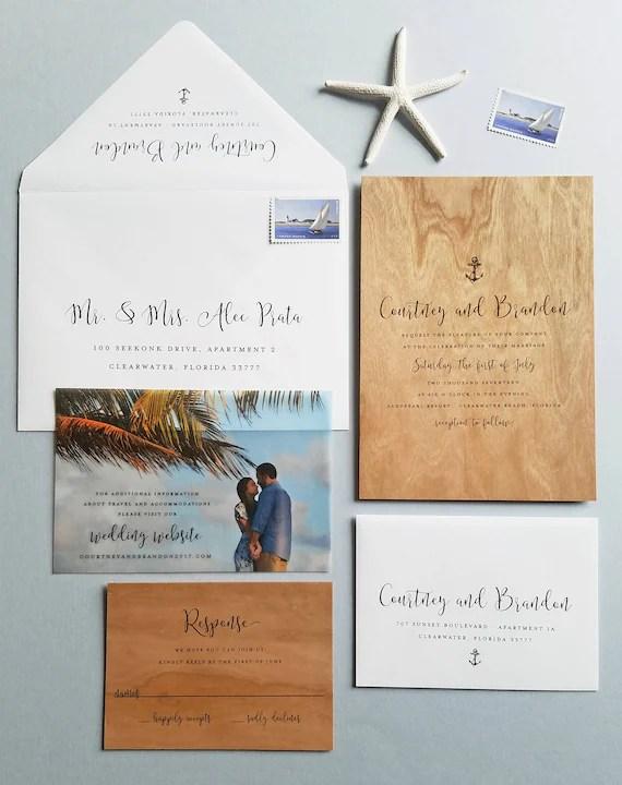 NEW Courtney Nautical Wood Wedding Invitation Sample Real Etsy