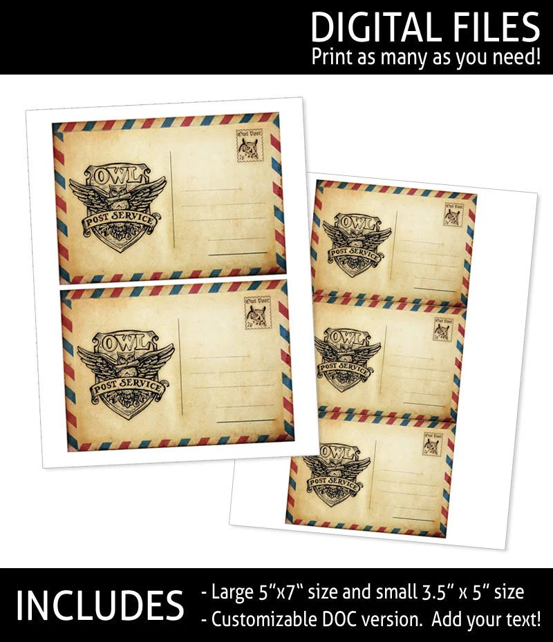 Owl Post Printable Shipping Labels / Postcard CUSTOMIZABLE Etsy