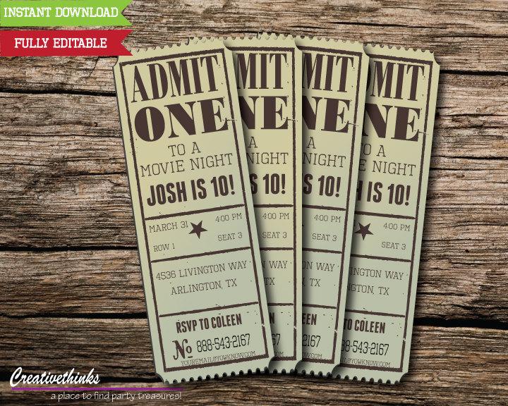 Editable Vintage Movie Ticket Invitation Digital File Etsy