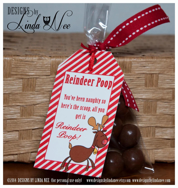 Reindeer Poop Brights Gift Tag Label Printable Party Etsy
