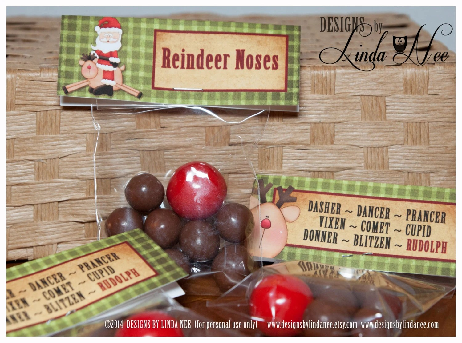 Reindeer Noses Treat Bag Topper Printable Candy Bags Funny Etsy